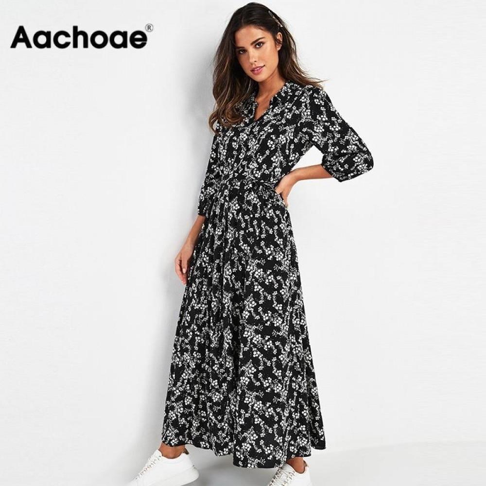 Aachoae Vintage Floral Print Maxi Dress Women Boho Three Quarter Sleeve Long Dress Turn Down Collar