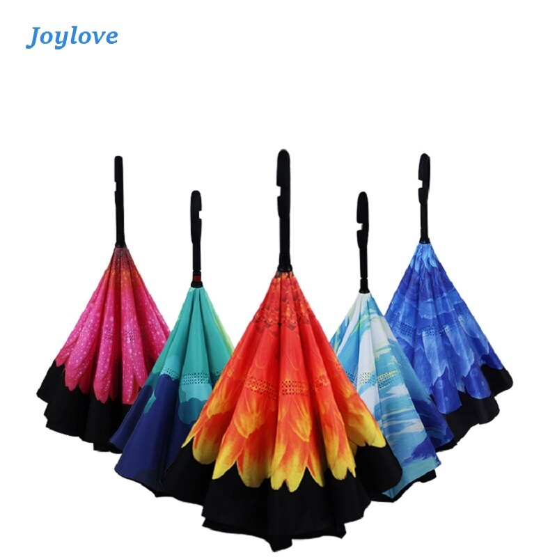 JOYLOVE C Handle Windproof Reverse Folding Umbrella Man Women Sun Rain Car Inverted  Double Layer Anti UV Self Stand Parapluie
