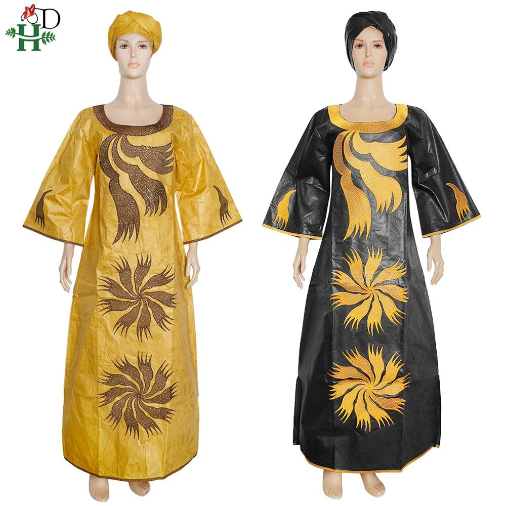 H&D 2021 New African Dresses For Women 4xl 5xl Plus Size Bazin Riche Maxi Dress Lady Ankara Robe European Clothes Party Gowns