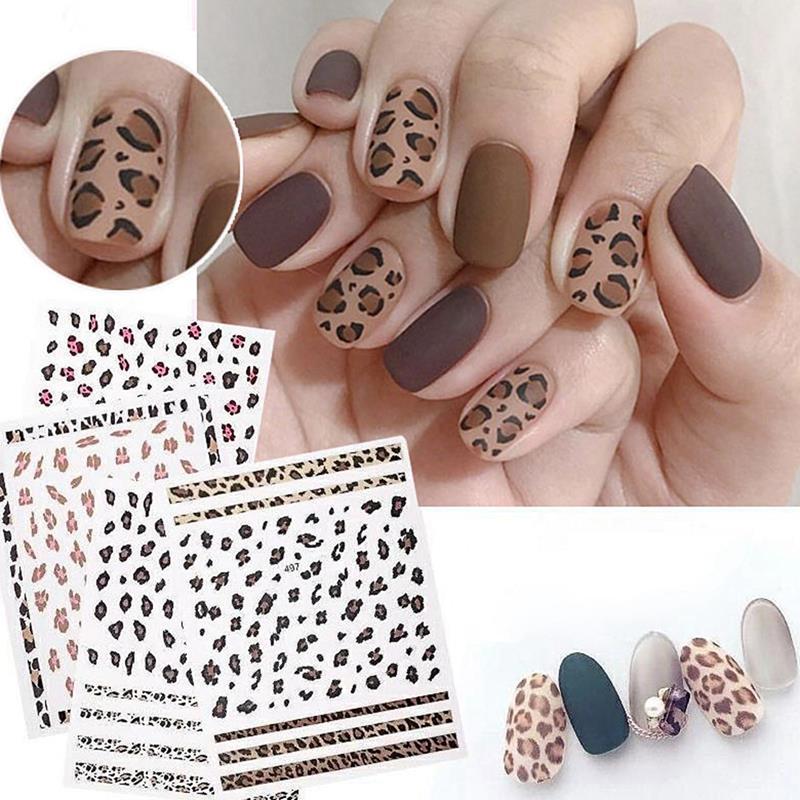 Kapmore 4 Sheets Leopard Nail Art Sticker Self Adhesive Nail Sticker Nail Decal for Women Girl DIY N