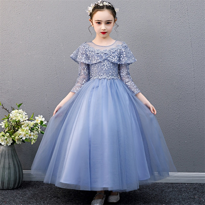 Luxury New Children Girls Blue/White Color Evening Party Wedding Princess Fluffy Dress Kids Baby Host Piano Communication Dress