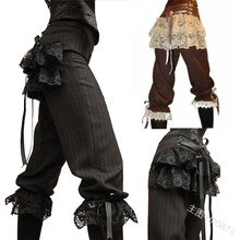 Medieval cosplay costume retro high waist pants lace stitching tie legs five pants women knight pants lolita costume Plus size