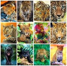 Huacan 5D DIY Diamond Painting Full Square Leopard Art Kit Diamond Embroidery Mosaic Animal Decorations Home