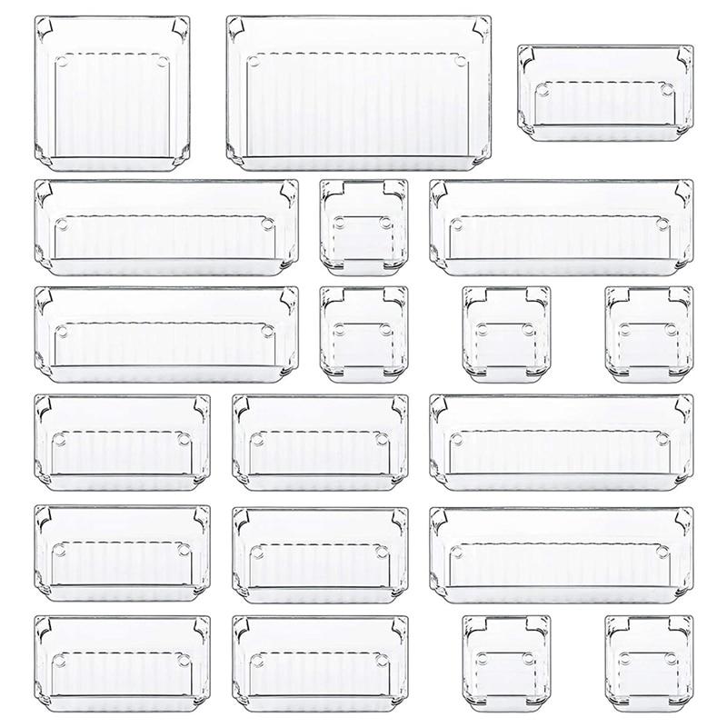20 قطعة شفافة درج مجموعة علب تخزين الحمام مكتب تخزين مقسم صندوق مناسبة ل مكتب دولاب منضدة الزينة