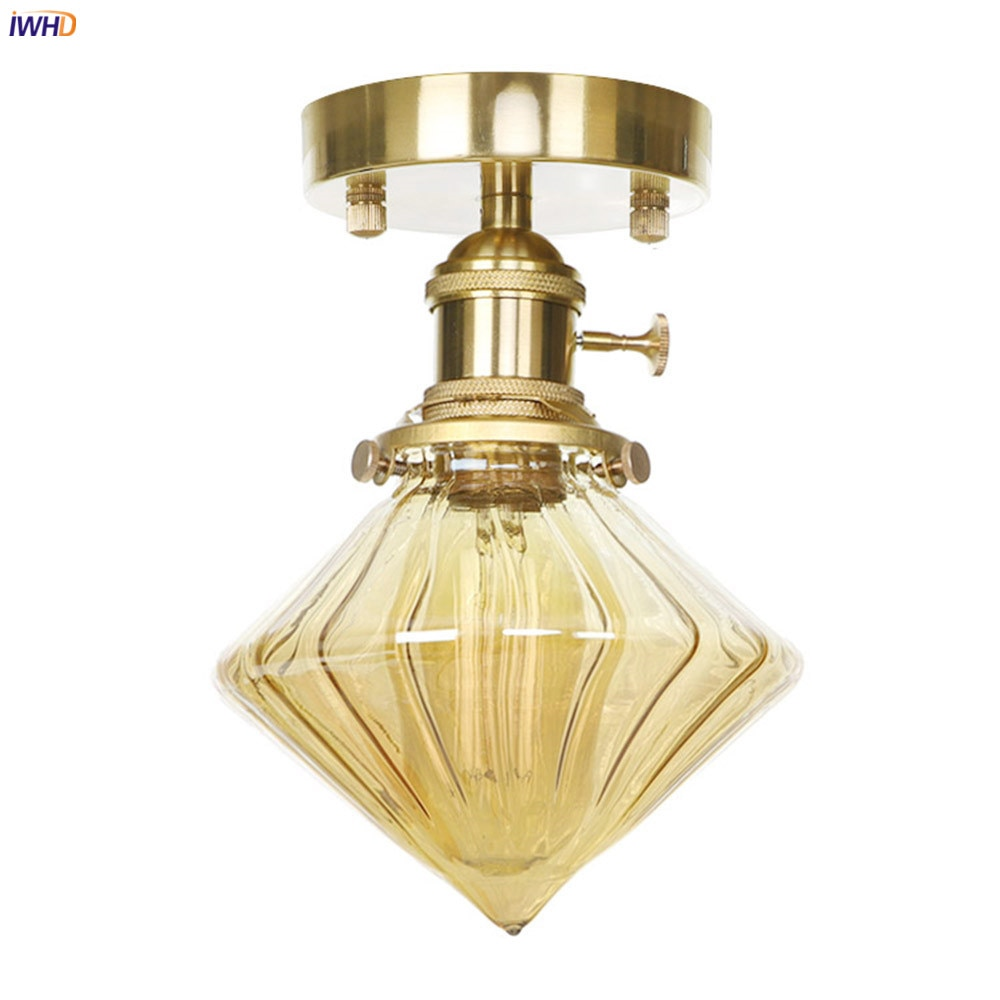 IWHD Modern LED Ceiling Lamp Bedroom Living Room Light Glass Copper Ceiling Lights Fixtures Luminaria De Techo iwhd colorful nordic modern led ceiling light fixtures porch corridor bedroom round glass ball ceiling lamp plafonnier lighting