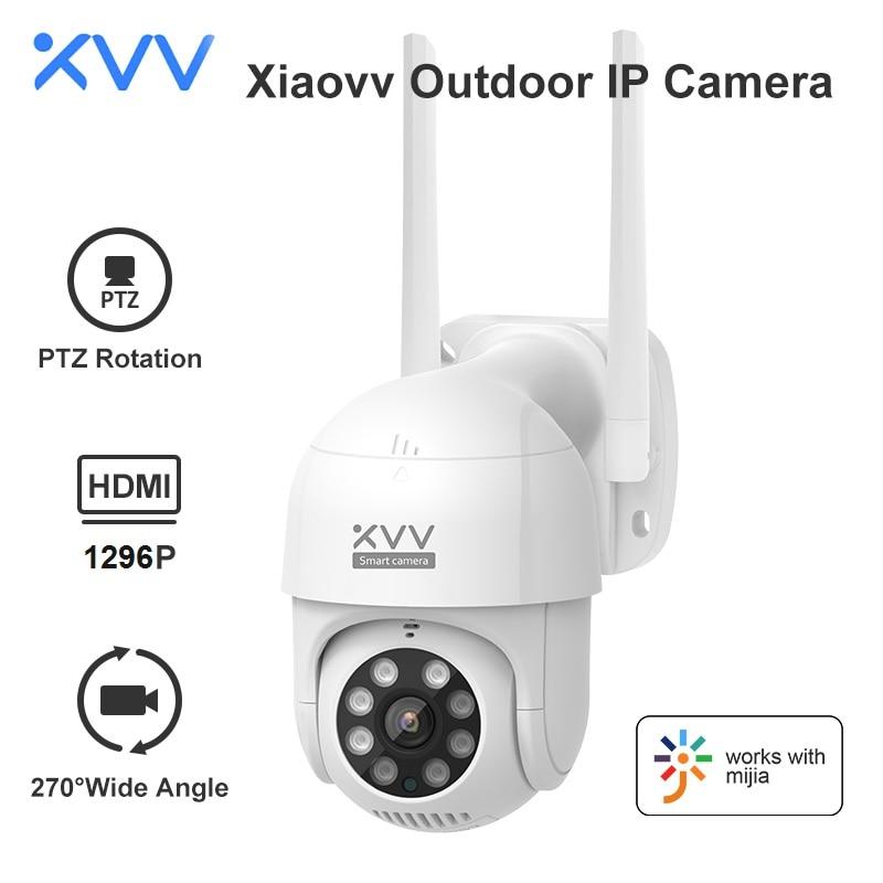 Xiaovv الذكية P1 كاميرا في الهواء الطلق 2K 1296P 270 ° PTZ تدوير واي فاي كاميرا ويب الإنسان كشف مقاوم للماء الأمن كاميرات تصوير الحركة للمنزل Mi