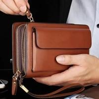 men faux leather double zipper wallet purse money holder clip clutch handbag