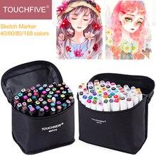 Touchfive 40/60/168 couleur Animation marqueur stylo ensemble Manga dessin croquis stylos Art marqueurs aquarelle alcool encre fournitures scolaires