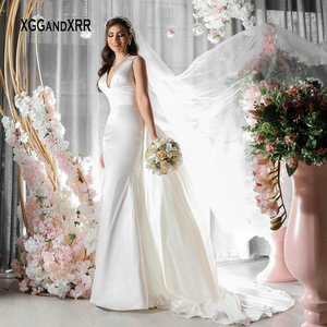 New Mermaid Wedding Dress 2021 Bridal Gown Sexy V Neck Overskirt Chapel Train White Formal Bride Wedding Party Gown Plus Size