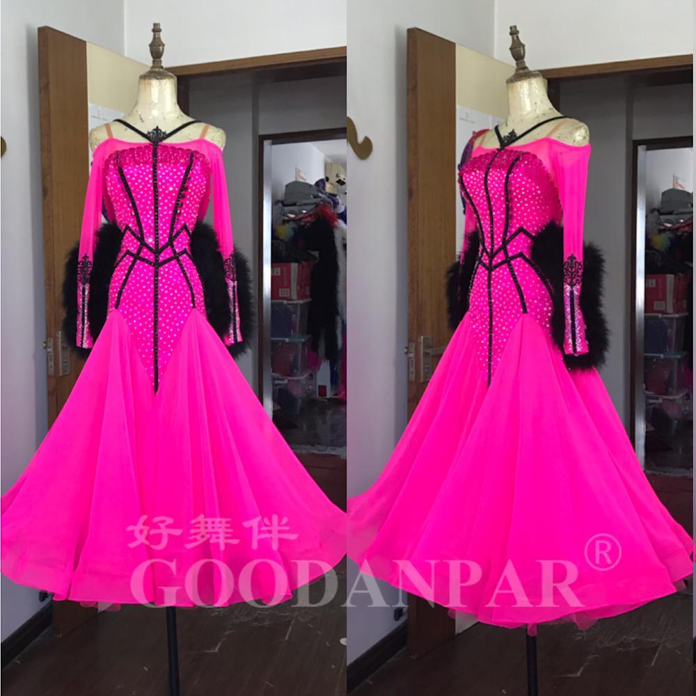 Nouveau Design danse de salon concours robes moderne valse Tango danse robe plume robe rose Standaard GOODANPAR