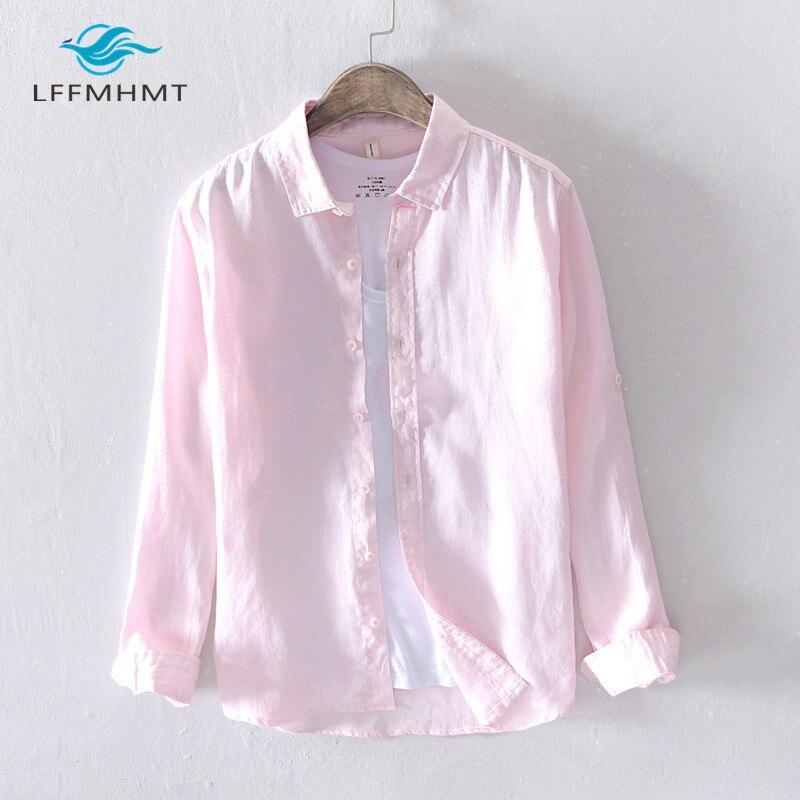 الرجال الربيع والخريف موضة العلامة التجارية اليابان نمط Vintage بلون 100% الكتان قميص طويل الأكمام الذكور عادية سليم قمصان مناسبة