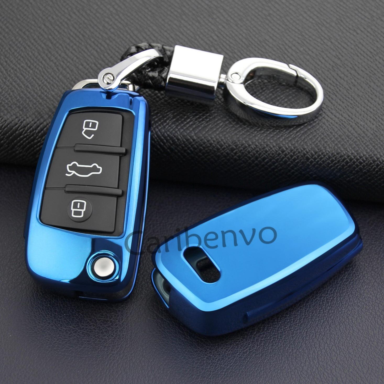 Aurora Blau Gute Qualität Durable Auto Schlüssel Fall Halter Abdeckung Für Audi Flip Schlüssel A1 A3 S3 Q3 Q7 TT zubehör