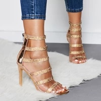 womens sexy bling crystal gladiator sandals rhinestone shoes open toe stiletto high heels ladies party zipper slingback