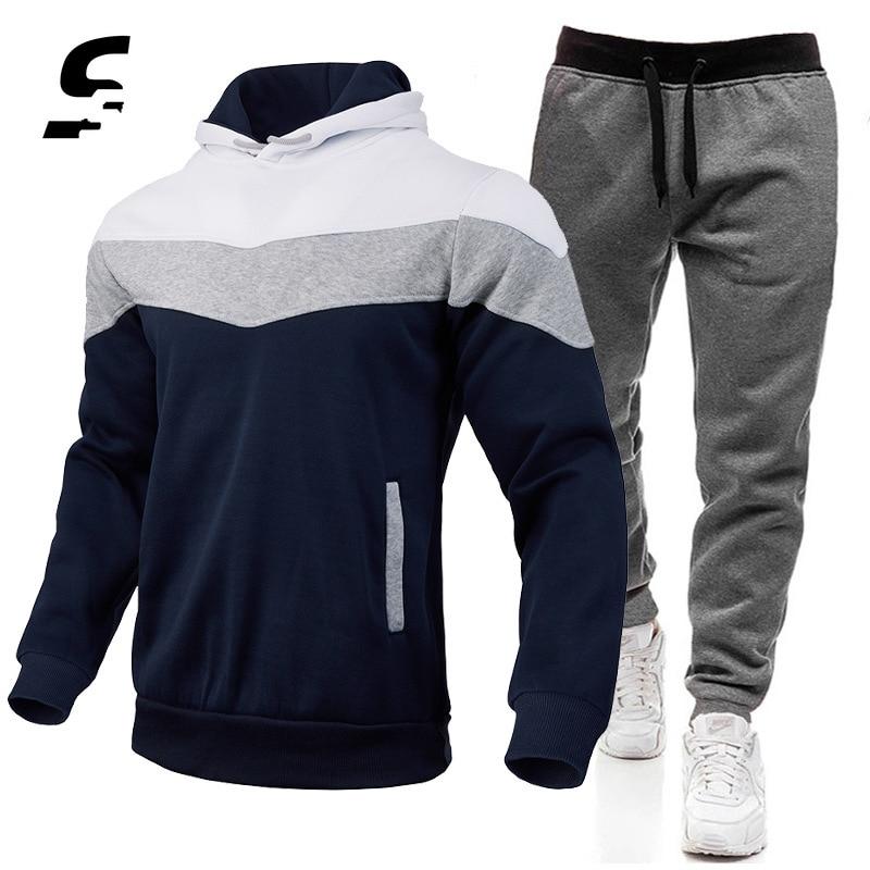Jogging Tracksuit Men 2 Piece Set Gym Clothing Casual Sports Wear Hoodie + Running Pants Set Gym Clo