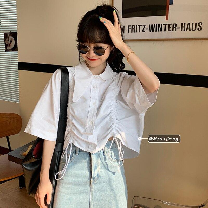 White Shirt Women's Design Sense Niche Short Top Summer 2021 New Student Loose French Short Sleeve S
