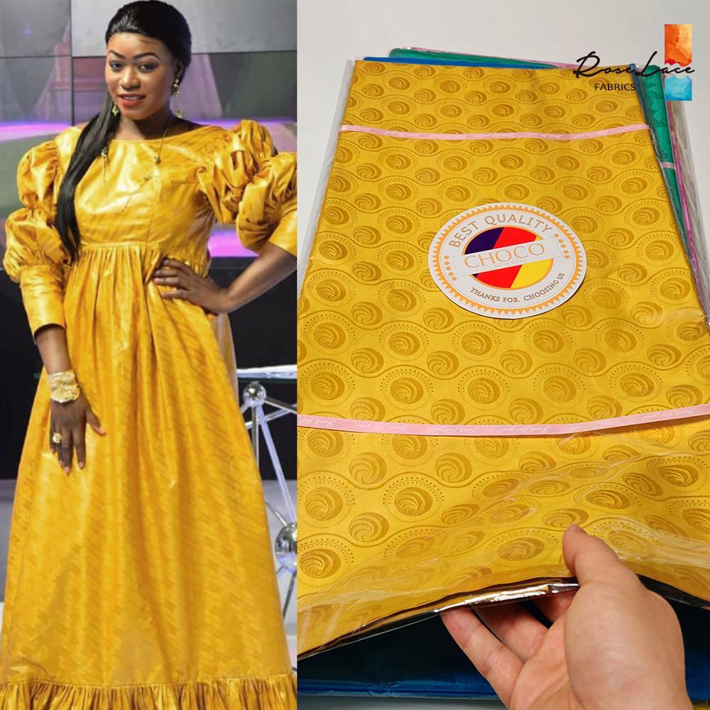 2020 de alta calidad Bazin Riche Getzner cuenca Riche de Senegal 5 yardas oro Nigeria tela 100% de algodón tela africana de encaje