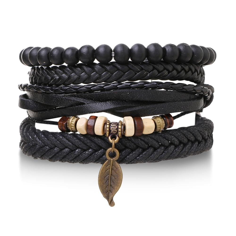 Черные мужские браслеты IFMIA, винтажные Многослойные Кожаные плетеные браслеты, браслеты ручной работы с листьями, плетеные браслеты, мужски...