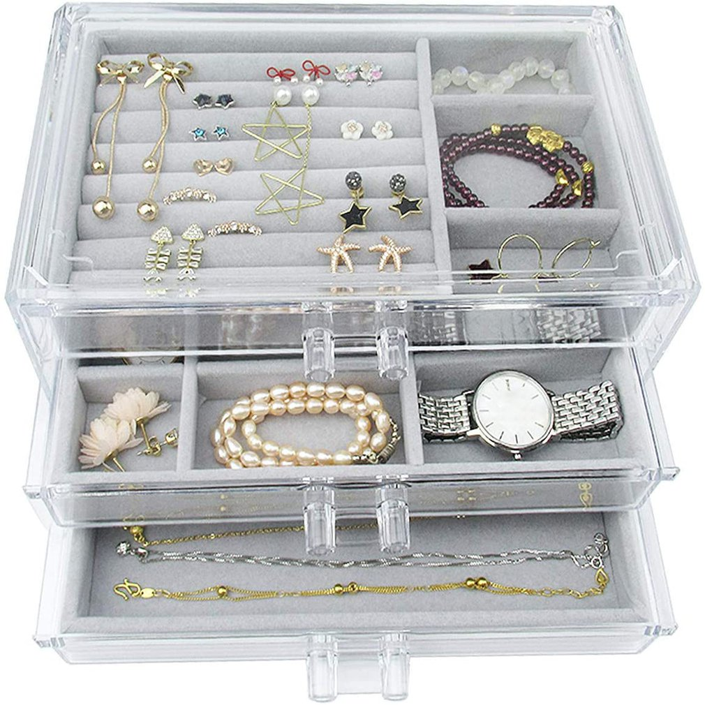 Acrylic Jewelry Box 3 Drawers Velvet Jewellery Organizer For Earrings Rings Necklaces Bracelets Disp