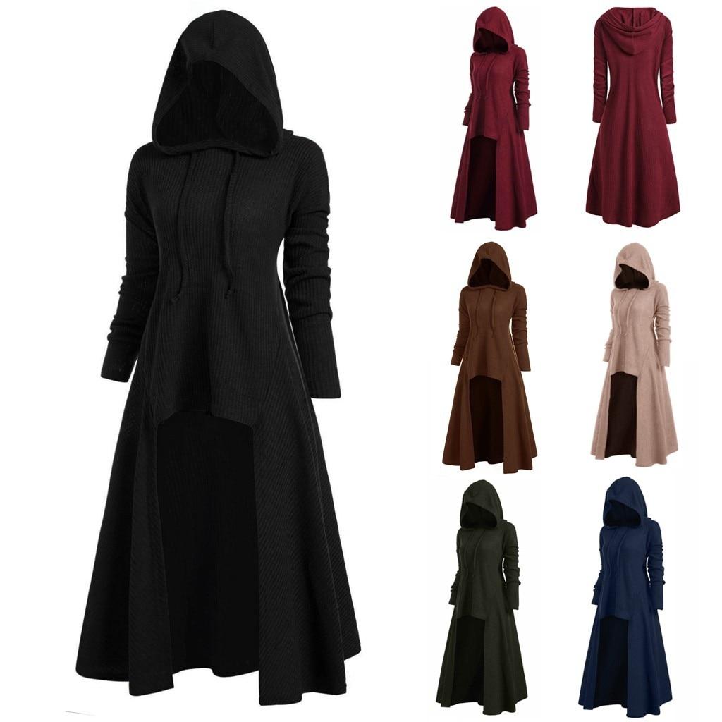 Womens Gothic Long Hoodies Sweatshirt Plus Size Vintage Cloak High Low Pullovers Tops Oversize Outwear Women Sweatshirts 2020