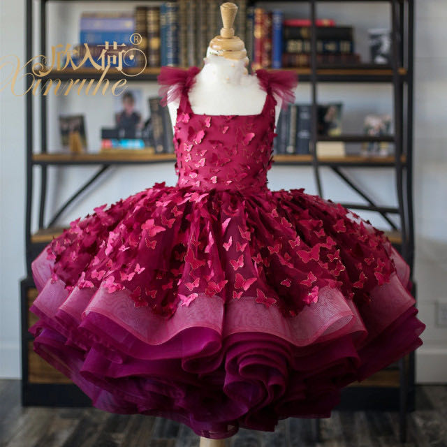 Wine Red Girls Puffy Princess Ball Gowns Lace Up Back Girls Ballet Puffy Dresses Butterfly Lace Applique Infant Baby Tutu  Dress