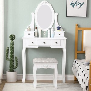 Fast Delivery Bedroom Furniture Dressers With Mirror 5 Drawers 1 Stool Multifunctional Women Makeup Dressers Dressing Table HWC