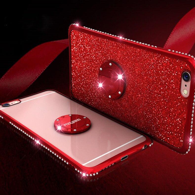 Para Xiaomi 6X8 funda de teléfono brillante con diamantes de imitación adecuada para mujeres Redmi on NOTE5 6A 6Pro Note4 X Coque cubierta antigolpes de parachoques