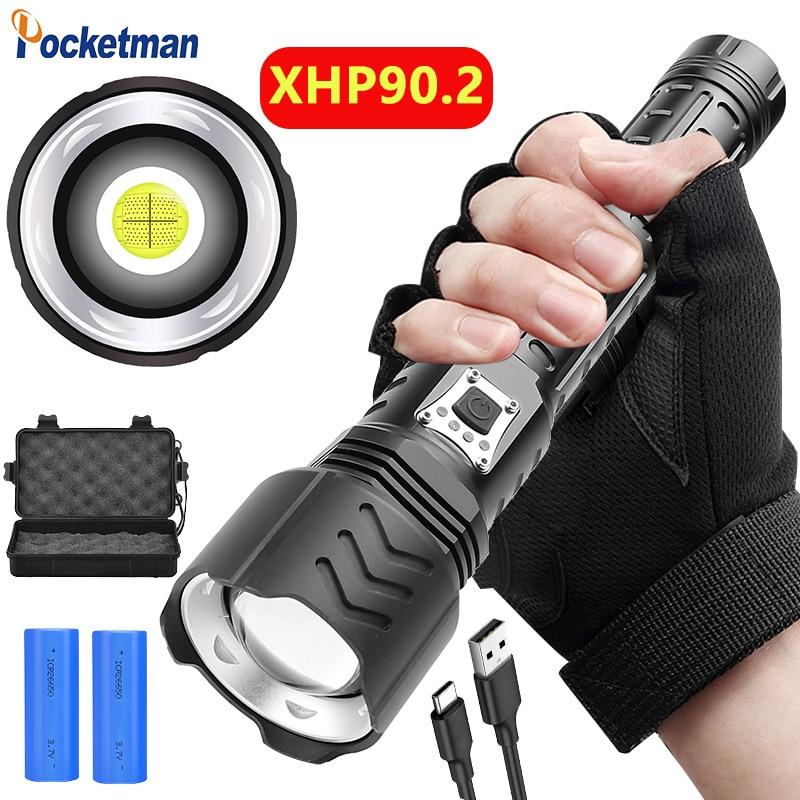 400000lm super poderoso xhp90 lanterna led usb recarregável tocha lanterna zoomable tactical flash light 26650 5 modos
