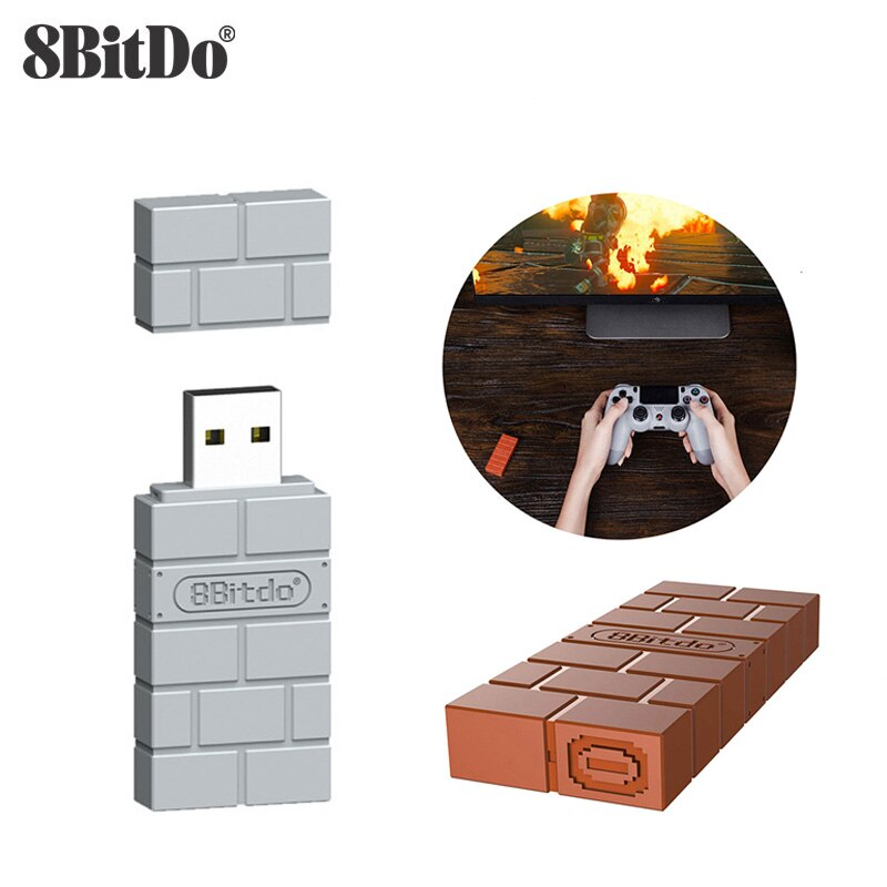 8BitDo USB inalámbrico Bluetooth RR receptor adaptador para interruptor Klassische Konsole para PS1 Mini controlador PS4