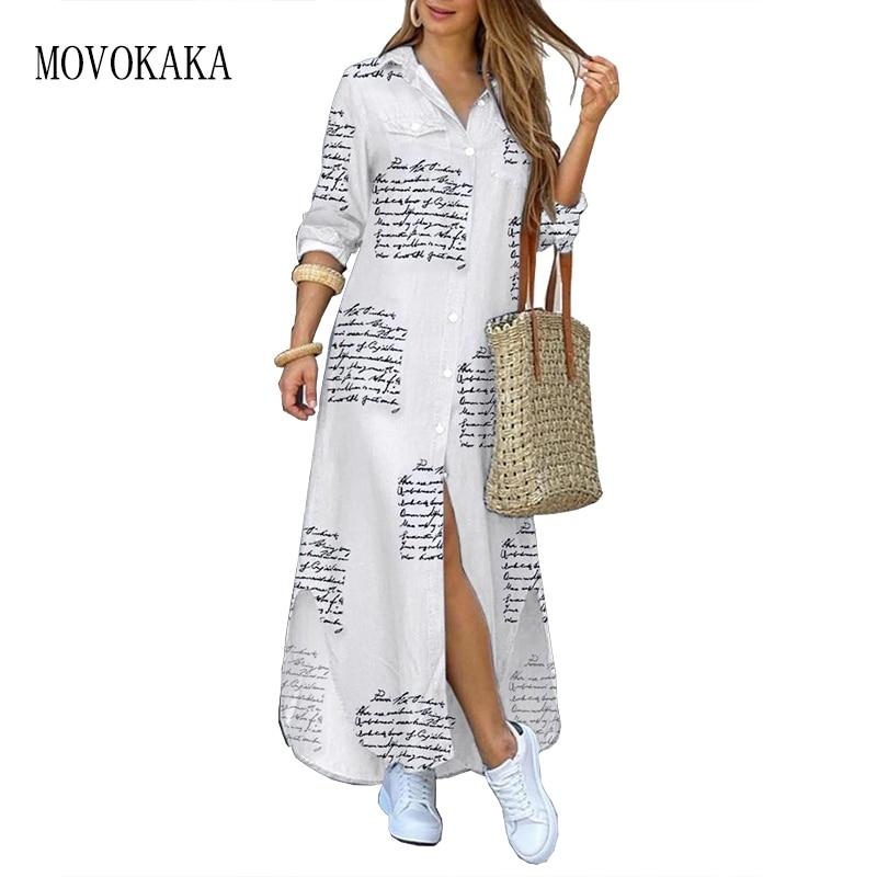 MOVOKAKA Character Print White Long Dress Women 2021 Casual Plus Size Robe Long Sleeve Dresses Woman