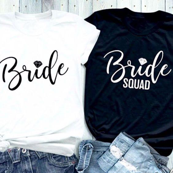 2019 camisetas gráficas estéticas novia letras con diamante impreso camiseta novia diamante Squad acoplado camisetas regalo para mujer