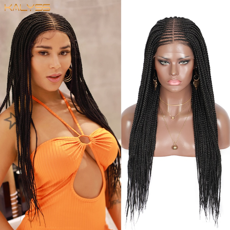 Kalyss 27 Inches Synthetic Lace Front Cornrow Box Braids Frontal Braided Wigs for Black Women