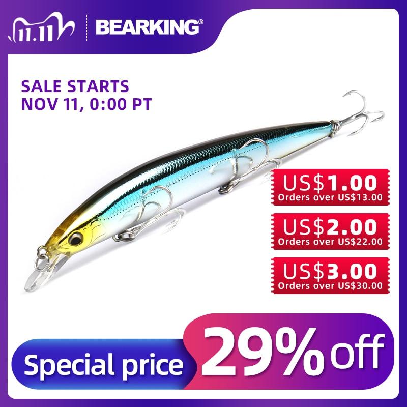 Bearking 1 pçs minnow isca de pesca a laser duro artificial 3d olhos 12.9cm 14.8g pesca wobblers cambota minnows
