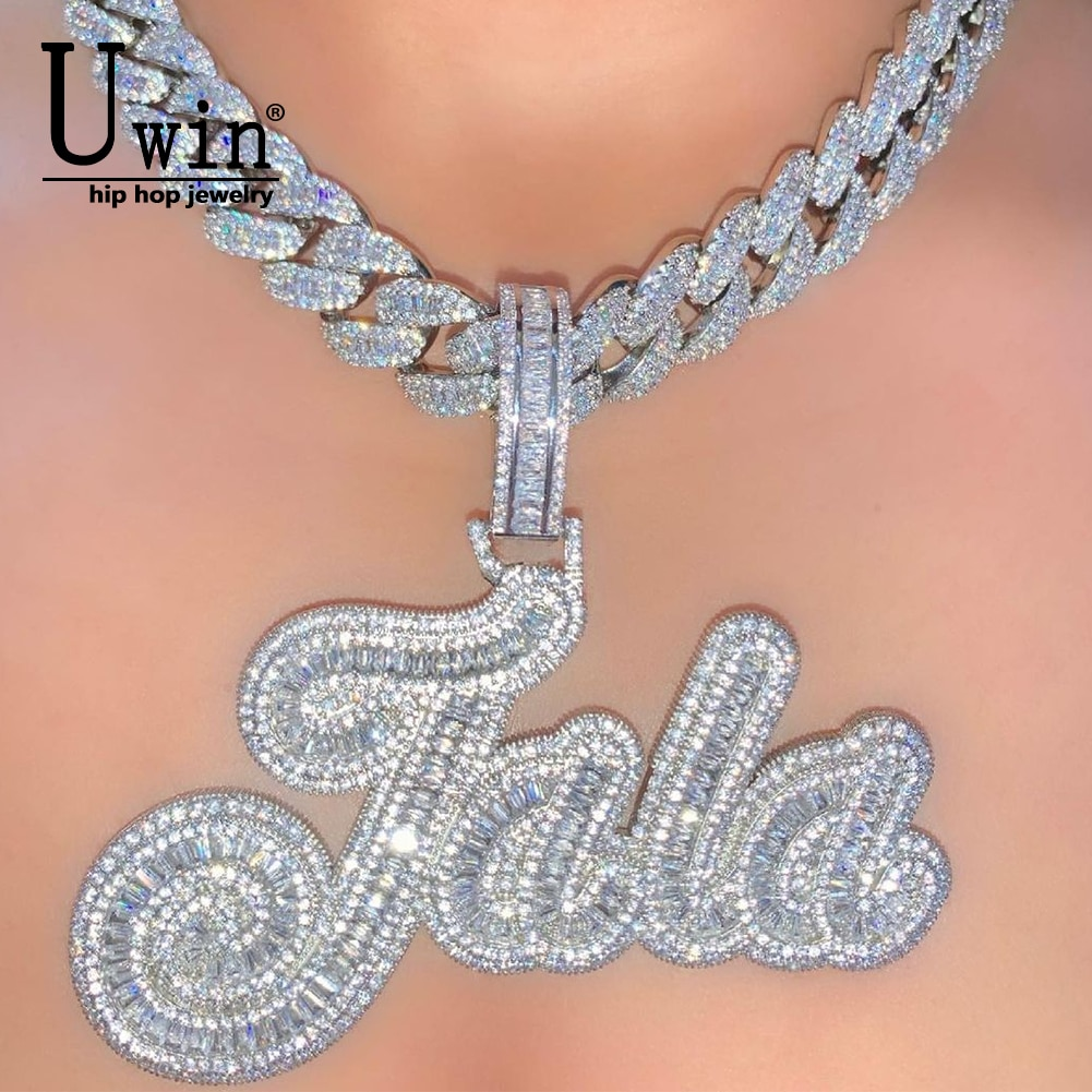 Review Uwin Custom CURSIVE Name Necklace Baguette Pendant Letters Customized  Full Iced Out For Men HipHop Jewelry Gift