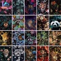 Peinture Par Numeros Avec Bricolage Animaux Dans Les Fleurs Images Dhuile Bricolage Peinture Dessin Peinture Par Numeros Encadree Decor A La Maison
