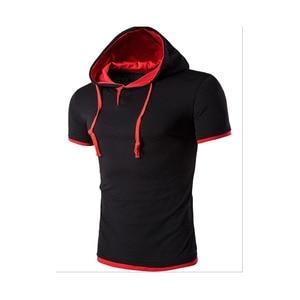 Men'S T Shirt  Summer Fashion Hooded Sling Short-Sleeved Tees Male Camisa Masculina  T-Shirt Slim Tshirt Homme DT08