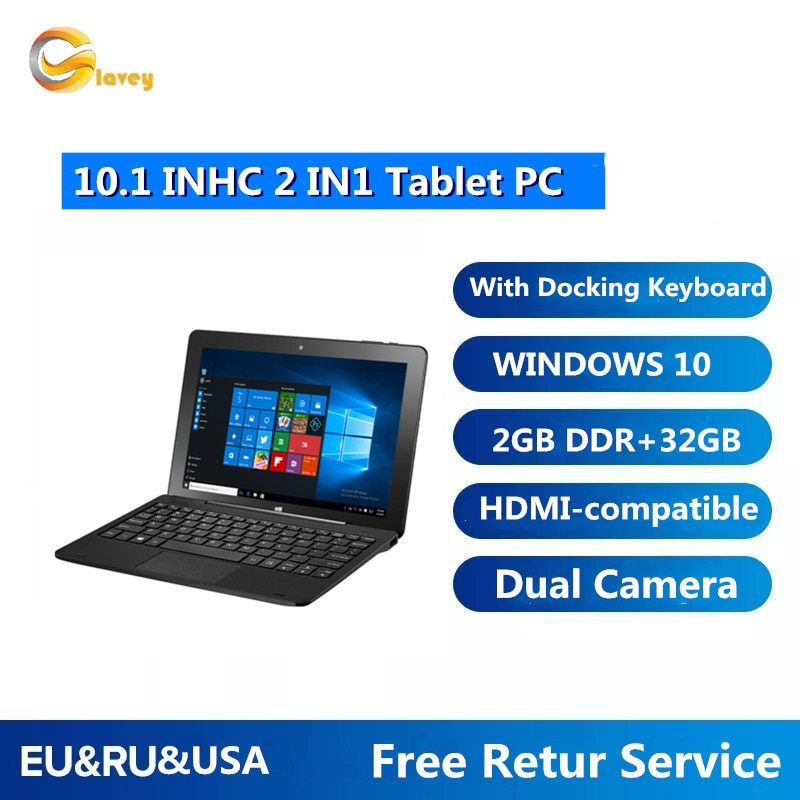 Sales 2GB DDR3 +32GB 10.1 INCH W8100  Windows 10 TabletPCwith Pin Docking Keyboard DualCameras  32-Bit WIFI TYPE-C