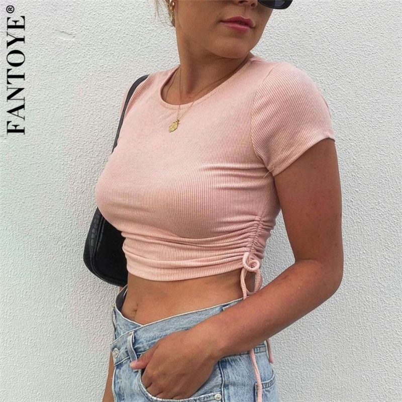 aliexpress - FANTOYE Cotton Ribbed Knitted Bandage Crop Top For Women Summer Sexy Short Sleeve Streetware Camis Femme Skinny Solid Tank Tops