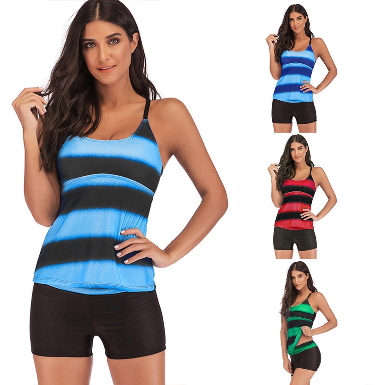 Women Beachwear Plus Size 5xl Tankini Set Push-up Striped Print Two Piece Swimsuit Conservative Summer Beach Swimwear Top+shorts lace up print tankini set swimwear