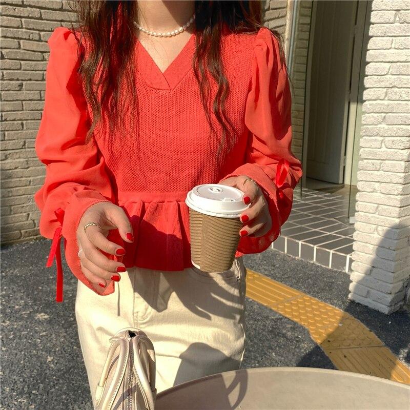 Женский белый пуловер с длинным рукавом, свитер, шифоновый вязаный с бантом Элегантный осенний Топ, женский свитер, джемпер для отдыха