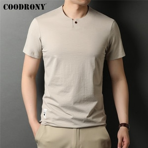 COODRONY Brand Summer New Arrival Fashion Casual Henry Collar Short Sleeve T Shirt Men Clothing Cool Soft Cotton Tee Top C5225S