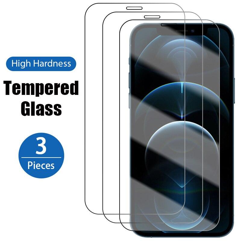 1/2/3 pçs capa completa de vidro protetor protetor de tela para iphone12 12mini 11pro 11 6p 7p 8p temperado xs xsmax iphonex xr