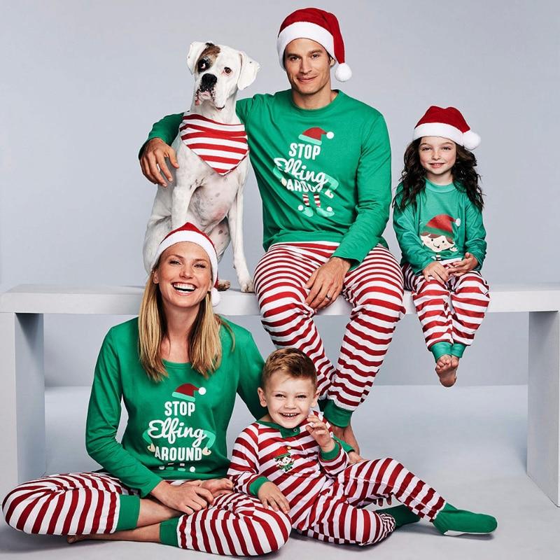 Family Christmas Pajamas Set Family Matching Clothes 2019 Xmas Clothes Adult Kids Pajamas Set Baby R