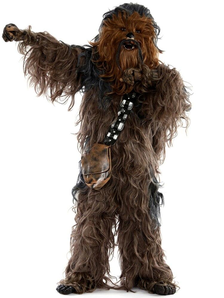 Купить с кэшбэком Chewbacca Cosplay Costume Halloween Party Suit Costumes Jumpsuit Helmet Gloves Bag Shoe Cover