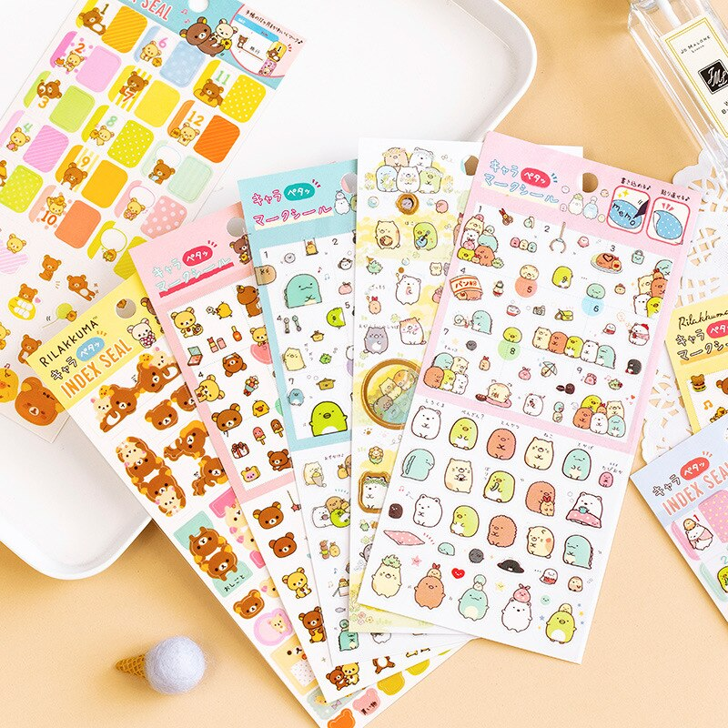 Mohamm relaxante urso série kawaii bonito adesivo personalizado adesivos diário papelaria flocos scrapbook diy adesivos decorativos