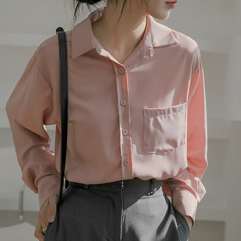 Hc65fdfa770ee4fc1bd857db3d4d821b0I - Spring / Autumn Turn-Down Collar Long Sleeves Solid Pocket Blouse