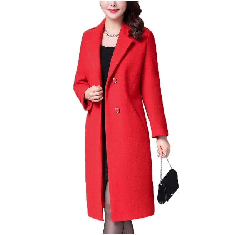 Long woolen coat women red black L-4XL plus size loose top jacket 2019 autumn winter new korean lapel blends warmth coat JD616