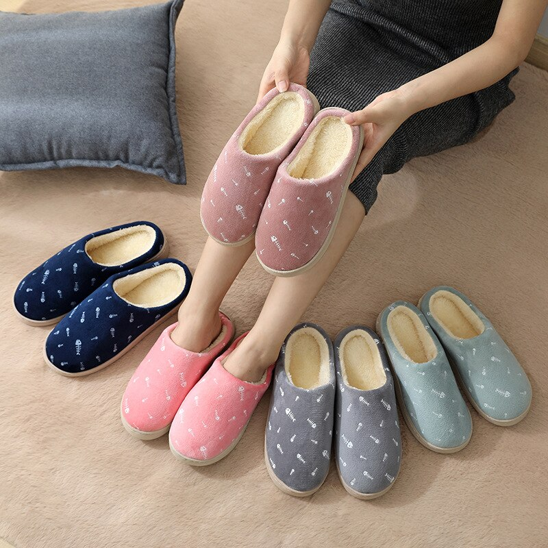 2020 Fashion Ladies Shoes Cotton Slippers Winter Fur Autumn Indoor Women Home Warm Thick Bottom Flip Flops House Cute Fluffy
