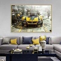 Affiche et imprimes dart mural de voiture de sport jaune  peinture sur toile de Style moderne a la mode  decoration de couloir  salon  maison  cadeau Unique