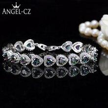 ANGELCZ Нигерийский Африканский стиль Специальный Многоцветный австрийский кристалл в форме сердца проложить женские серебряные браслеты руки BanglesB037