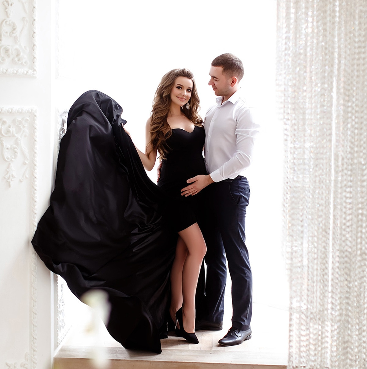 maternity dress summer Off The Shoulder Evening Gowns Maternity Dresses For Photo Shoot Sexy Split long Tailing Robe De Soiree enlarge